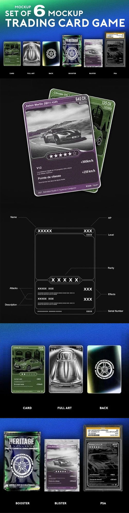 Trading Cards Game - Set of 6 PSD Mockup Templates