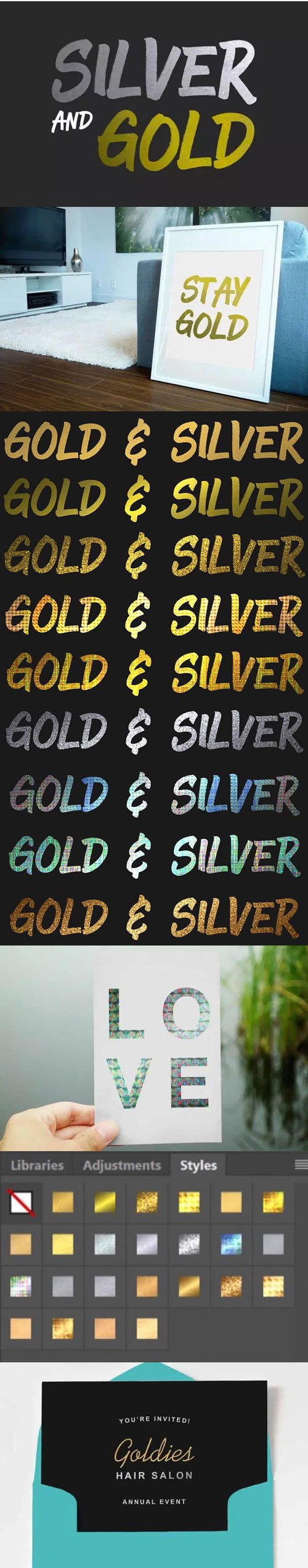 Silver & Gold Textures Styles for Photoshop
