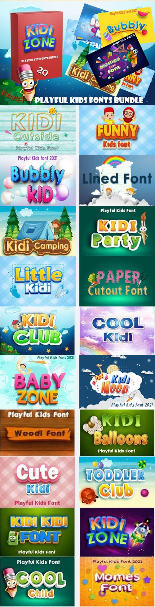 Kids Fonts Bundle - 20 Premium Fonts