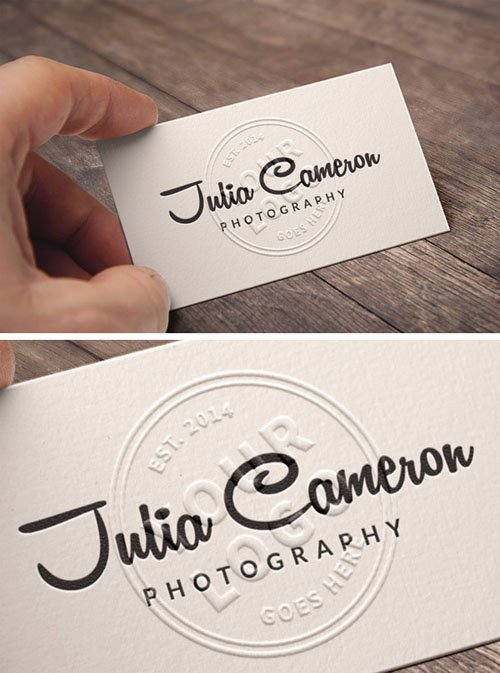 Realistic Embossed Business Card PSD Mockup Template