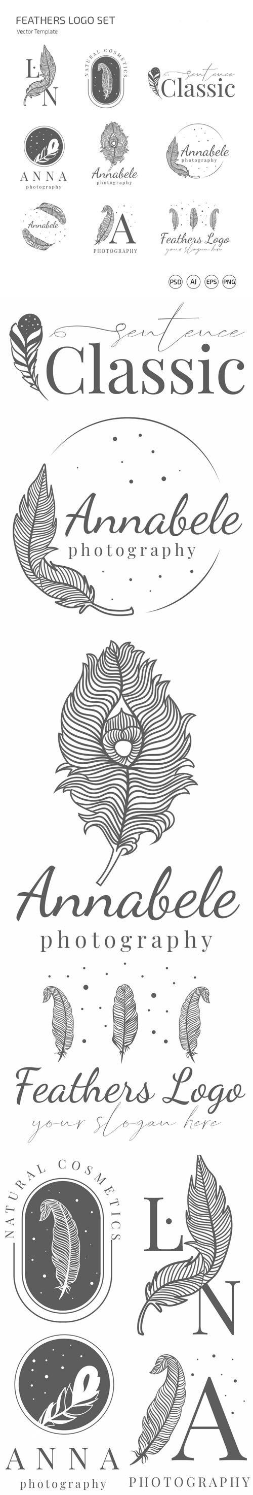 9 Feathers Logo Set Vector Templates + PSD