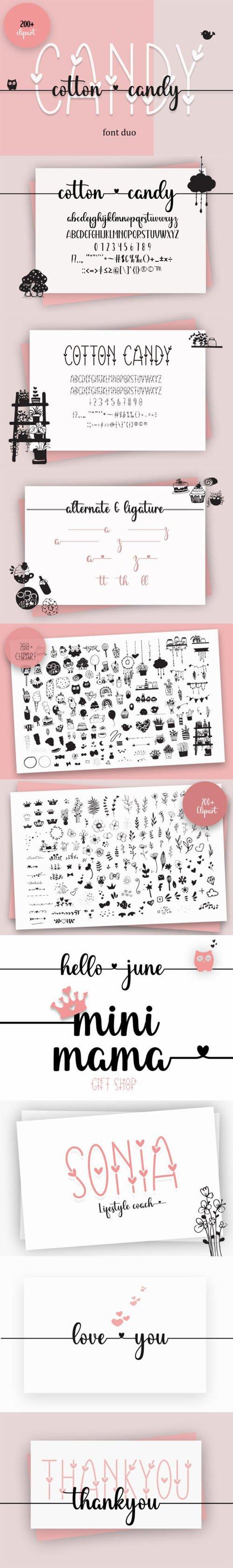 Cotton Candy - Decorative & Handwritten Font Duo