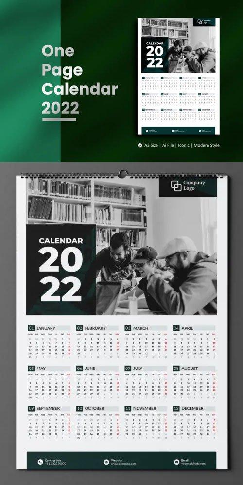 One Page Calendar 2022 - A3 Vector Design Template