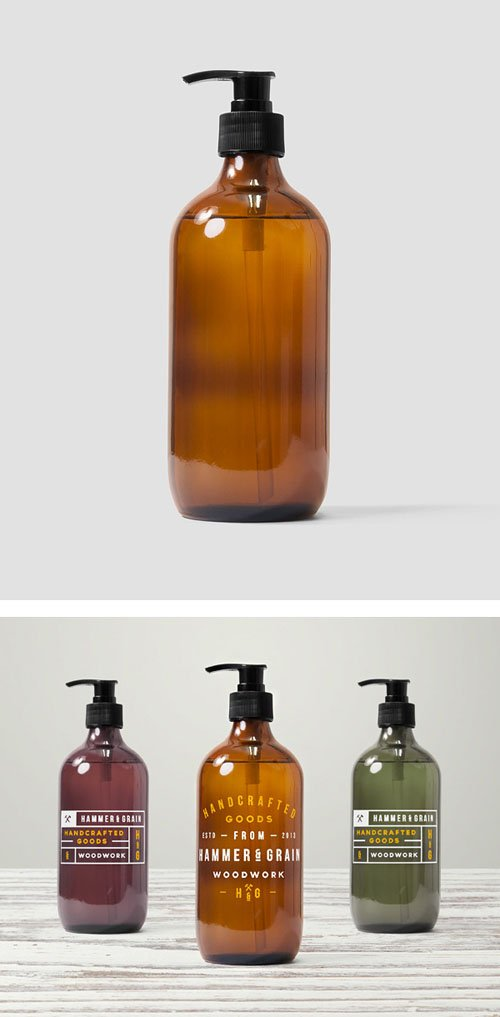 Glass Medicine Bottle PSD Mockup Templates