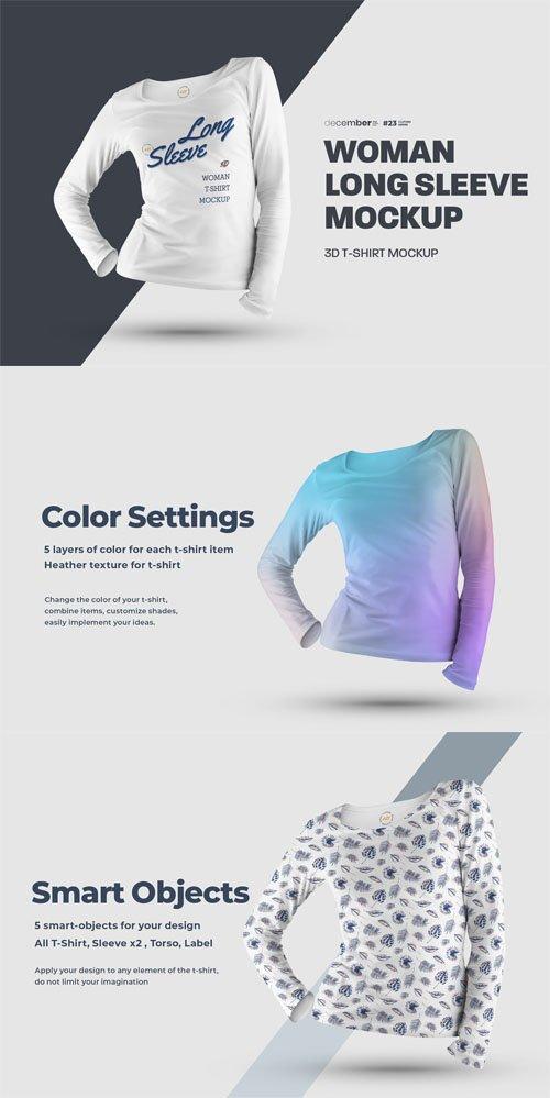Woman 3D Long Sleeve T-Shirt PSD Mockup Template