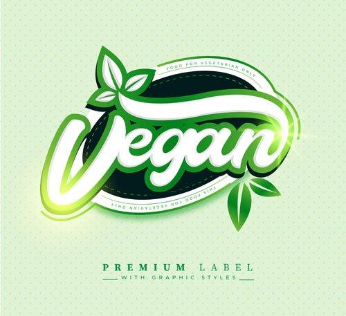 Vegan Food - Premium Label - Vector Graphic Style Template