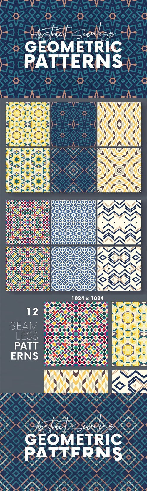 12 Abstract Seamless Geometric Patterns for Photoshop