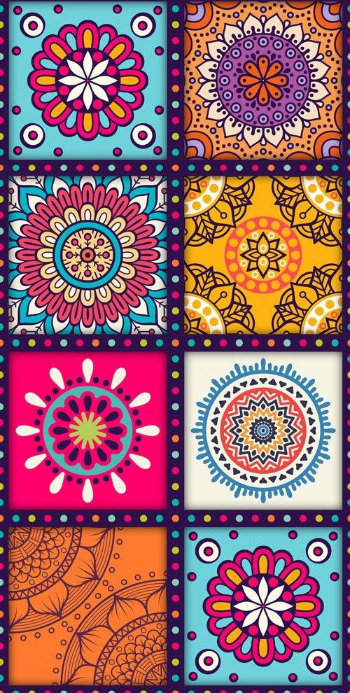 9 Mandala Patterns Vector Templates