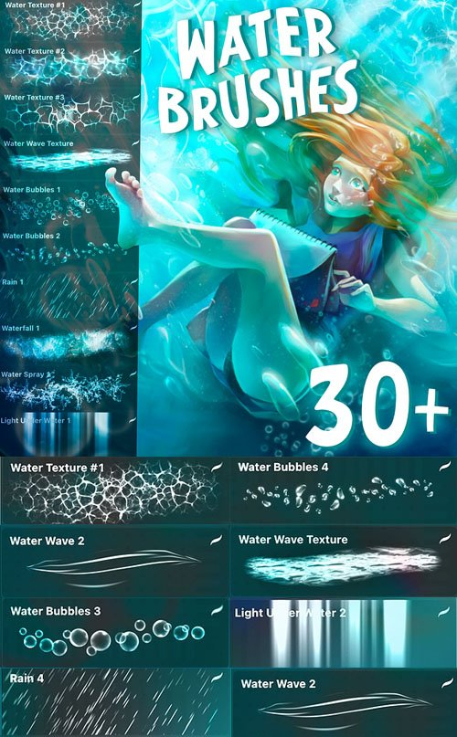 Water Brushes for Procreate