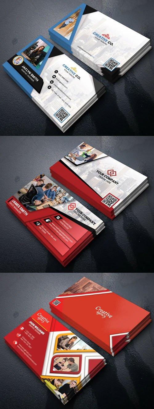 3 Creative Corporate Business Cards PSD Templates