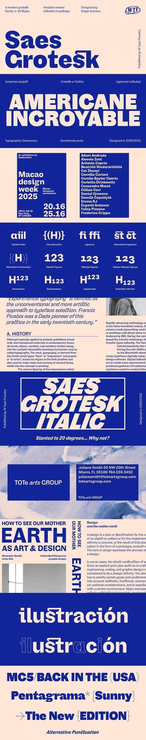 Saes Grotesk - Sans Serif Font Family