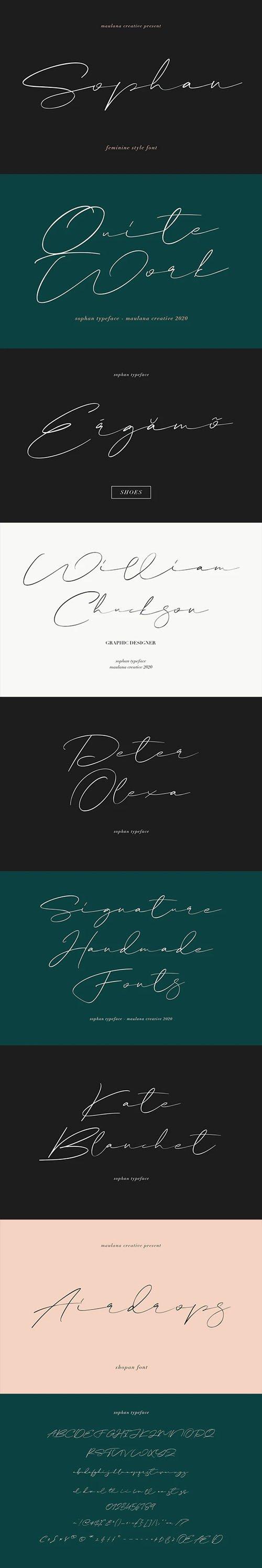 Sophan - Feminine Calligraphy Font