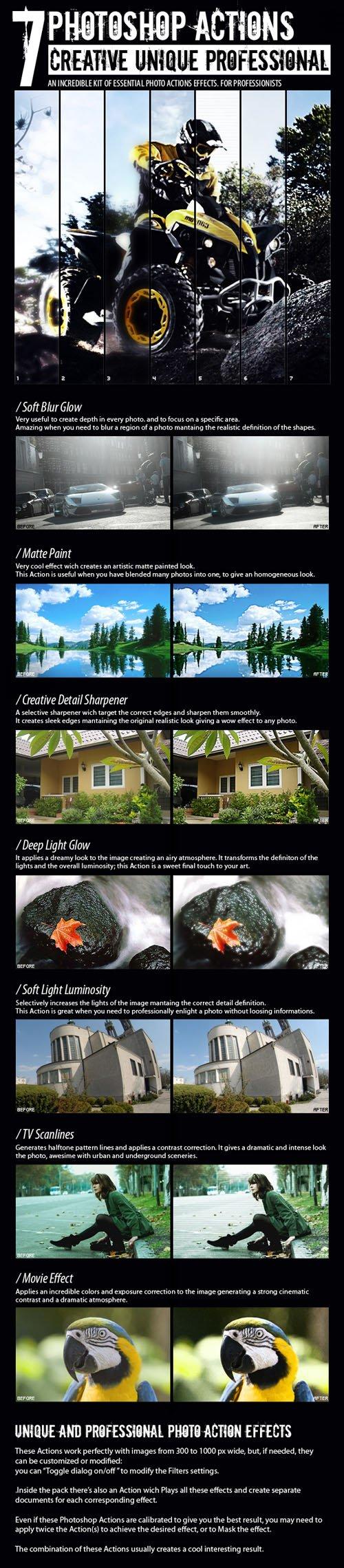 7 Creative Unique Professional Photoshop Actions
