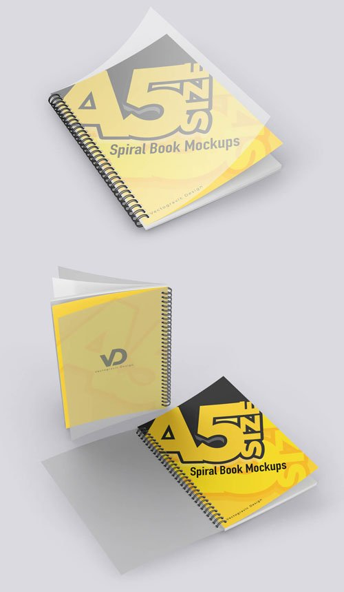 A5 Spiral Book with PVC Plastic Cover PSD Mockup Template