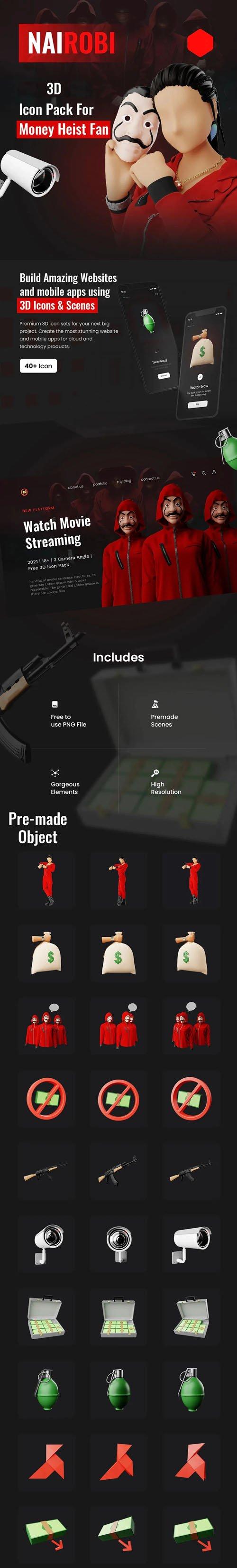 Money Heist Pack - 3D Illustration [PNG/BLEND]