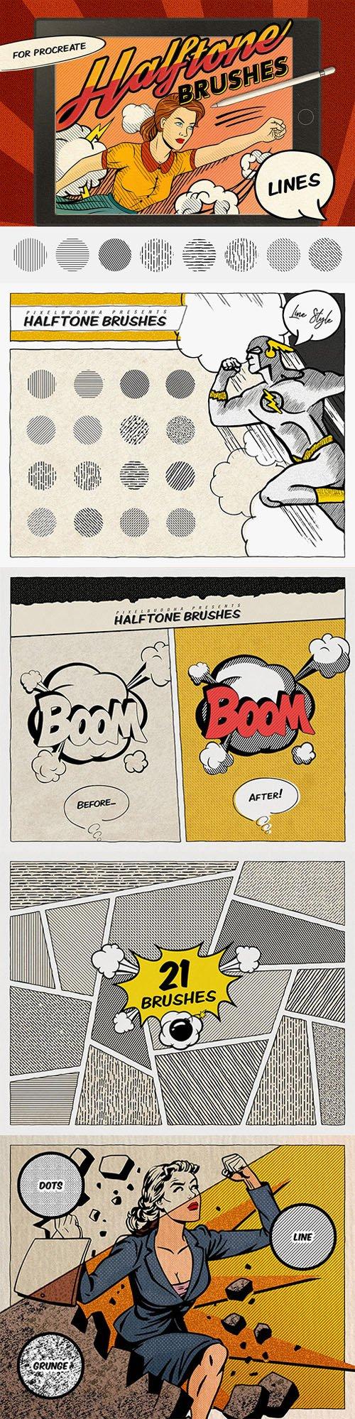 21 Comics Halftone Brushes for Procreate