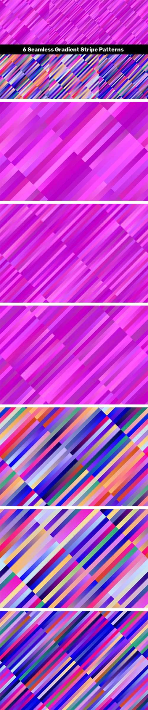 6 Gradient Stripe Patterns Vector Templates