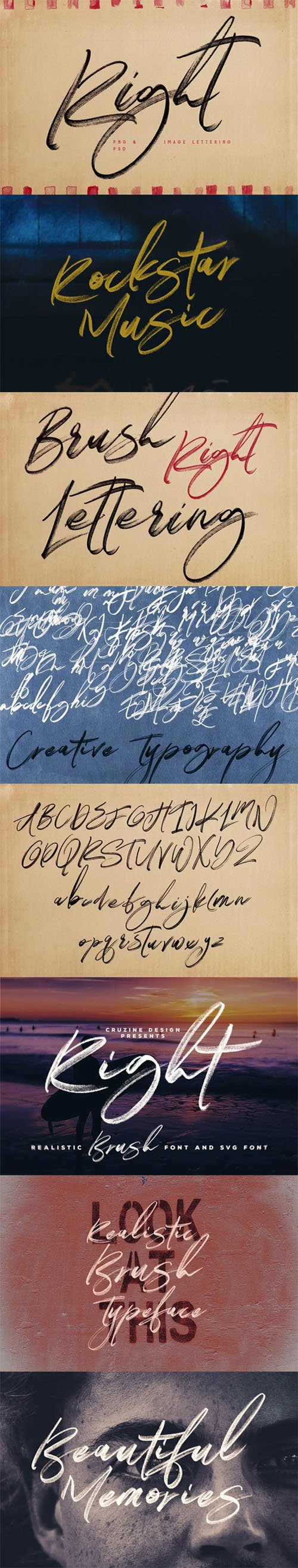 Right Brush Lettering - All Letters PSD Template