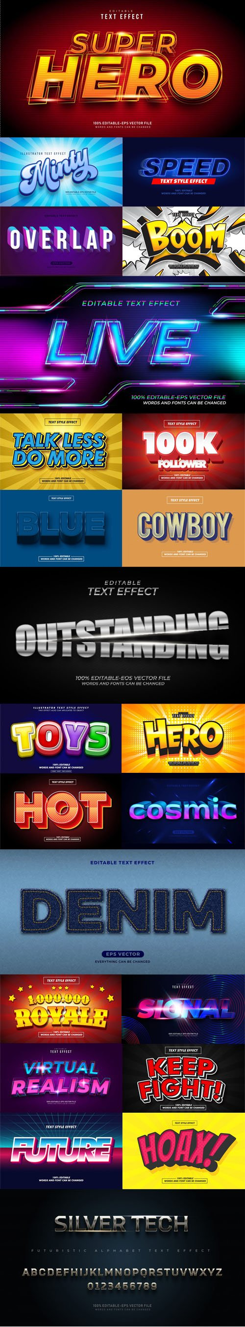 23 Awesome New Text Effects Vector Templates