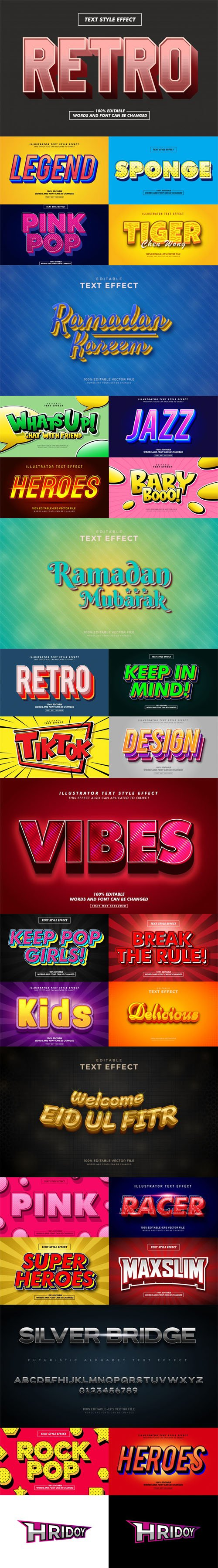 29 Awesome New Text Effects Vector Templates