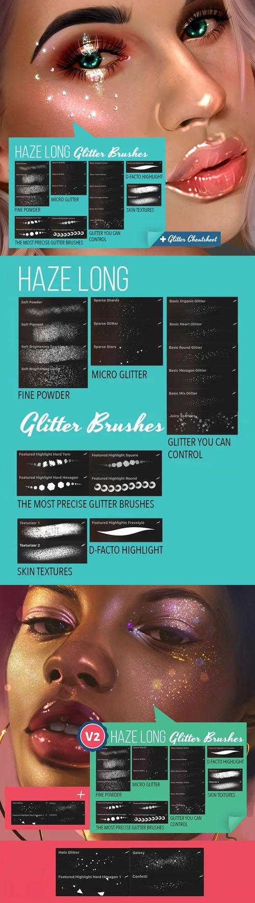 24 Haze Long Glitter Brushes for Procreate