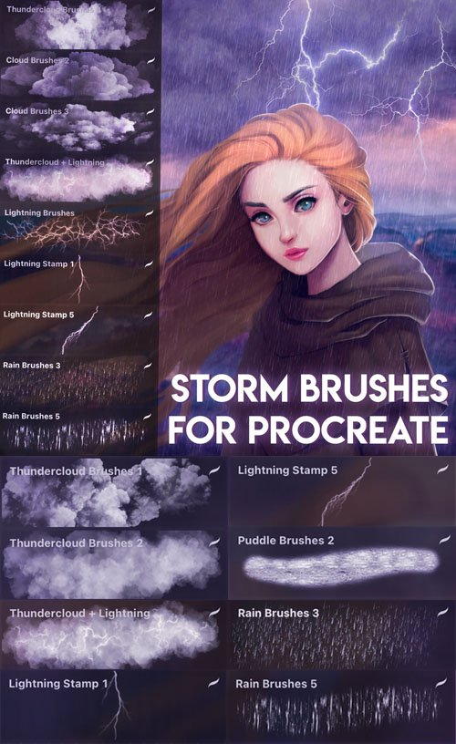 8 Storm Brushes for Procreate