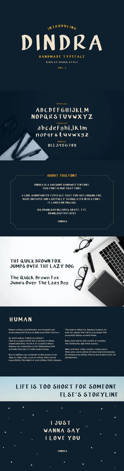 Dindra Handmade Typeface - Display Brush Style