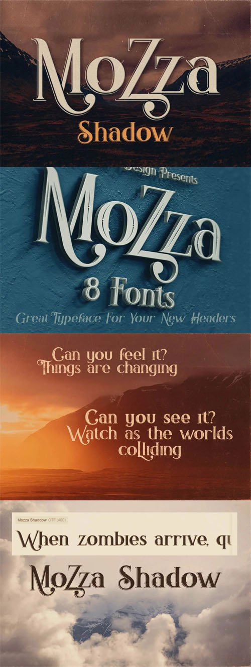 Mozza Shadow - Vintage Style Font