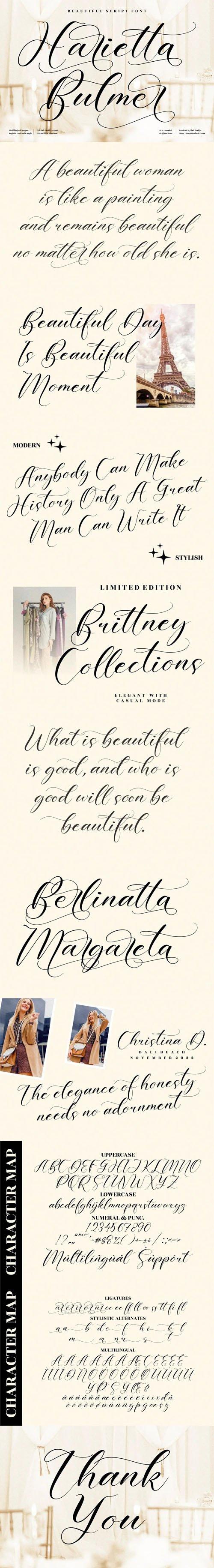 Harietta Bulmer Script - Beautiful Calligraphy Font