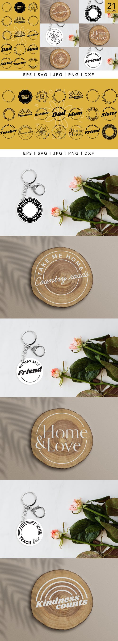 21 Circle Keychain Vector Templates Collection