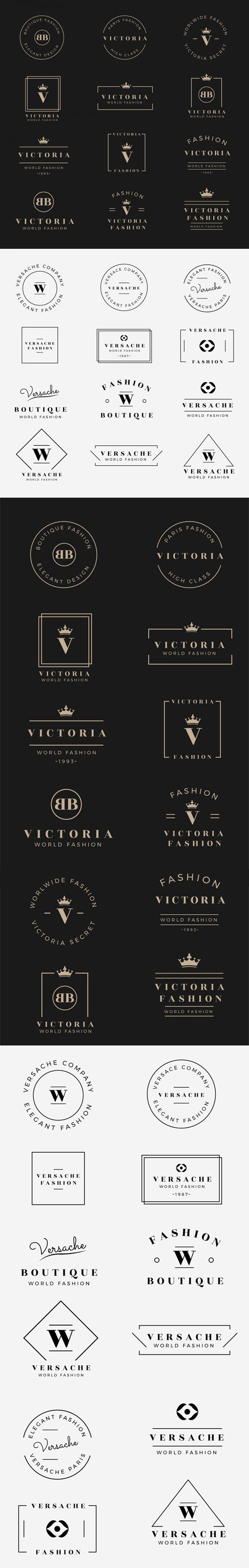 24 Elegant Logo Badges Vector Templates