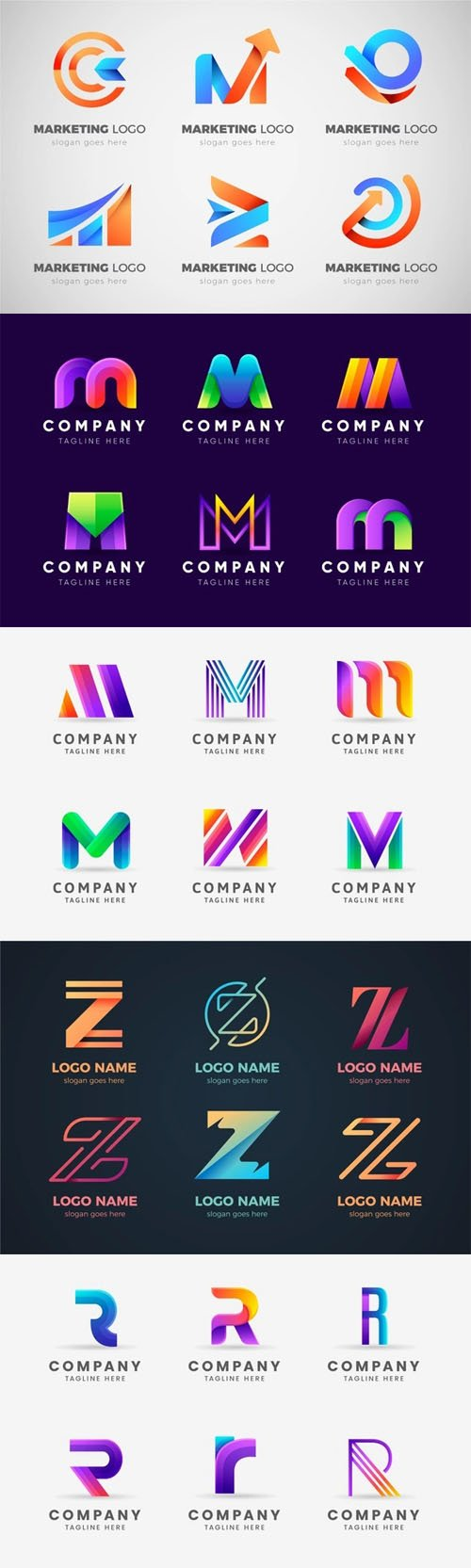 30 Gradient Logos Vector Collection