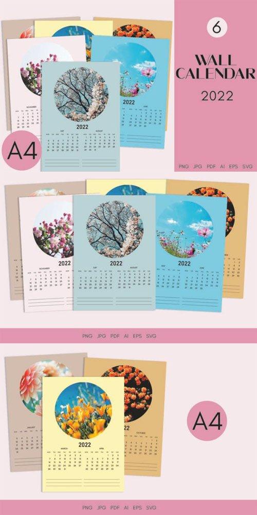 2022 Wall Calendar A4 Printable Vector Templates