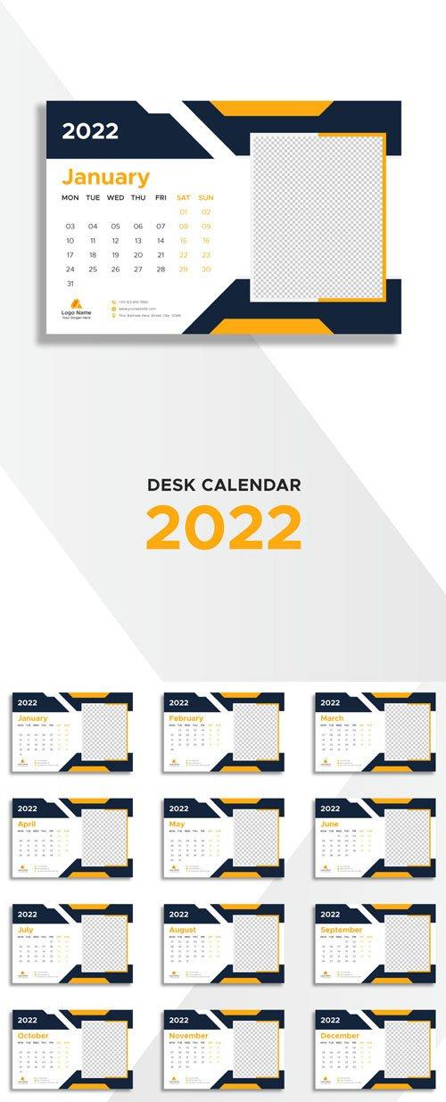 2022 Desk Calendar Vector Template