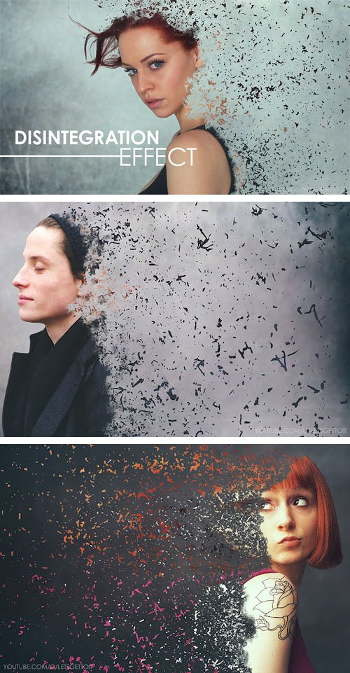 Awesome Disintegration Power Effect PSD Template + Brushes + Tutorial