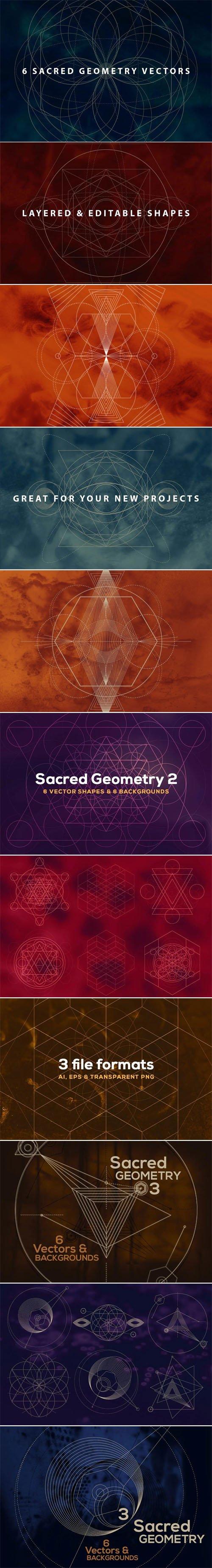 18 Sacred Geometry Vectors + Backgrounds