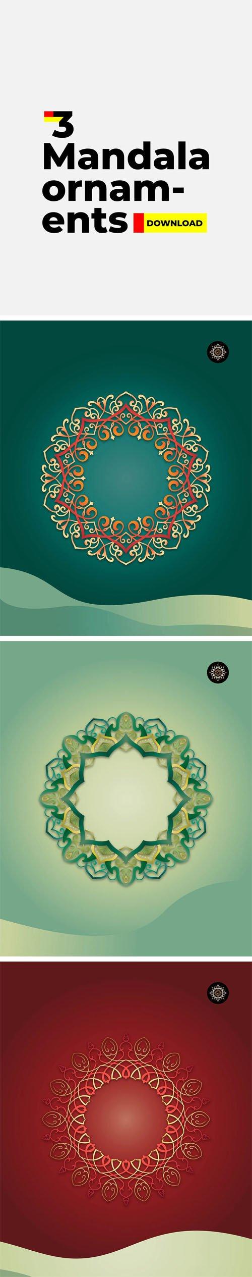 3 Vector Mandala Ornaments Templates