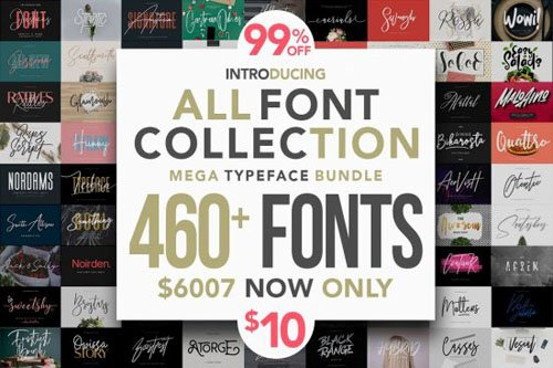 460+ Fonts - Mega Typeface Bundle