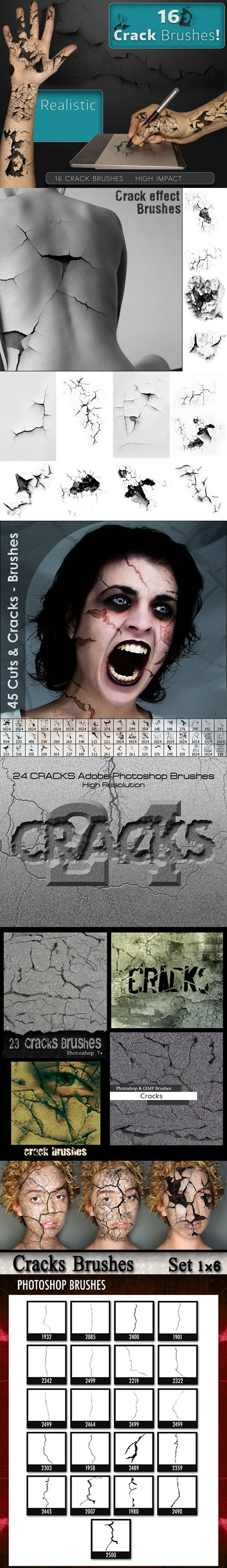 180+ Pretty Cuts and Cracks Brushes for Photoshop & Gimp