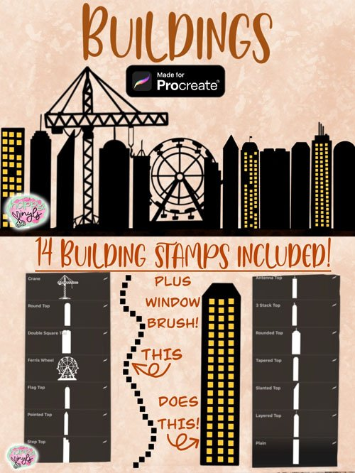Building Stamps and Window Brushes Pack for Procreate