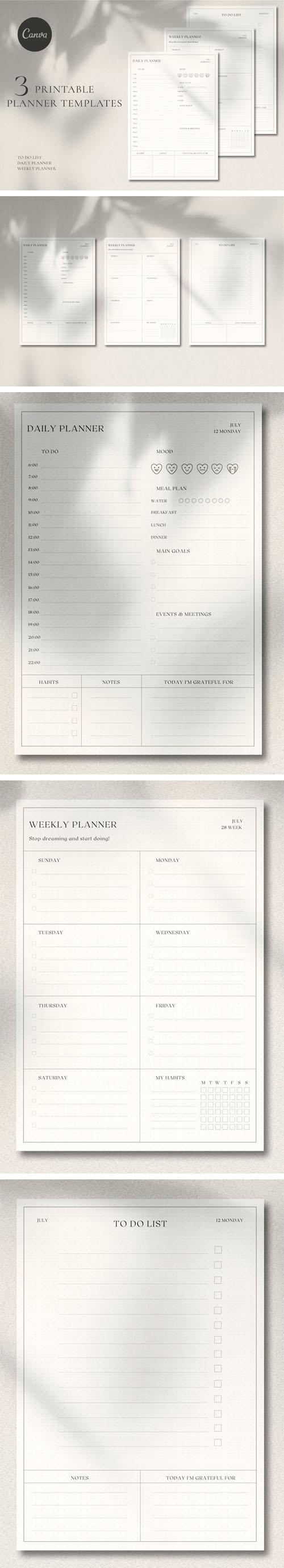 3 Printable Planner Templates