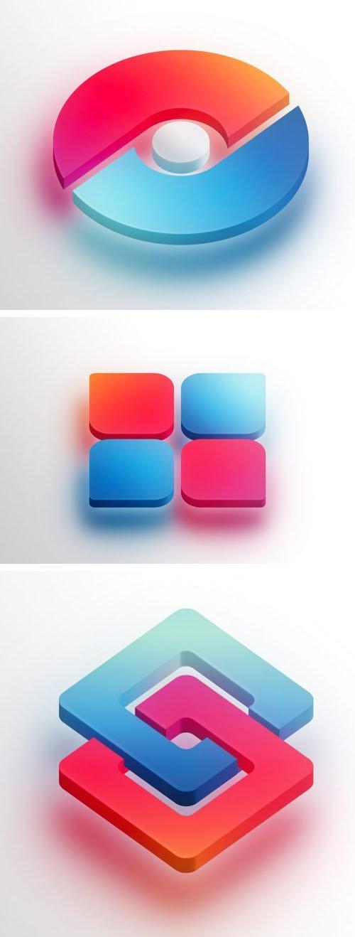 3D Icon Logo PSD Mockup Template