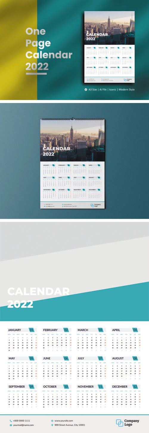 2022 One Page Wall Calendar Vector A3 Template