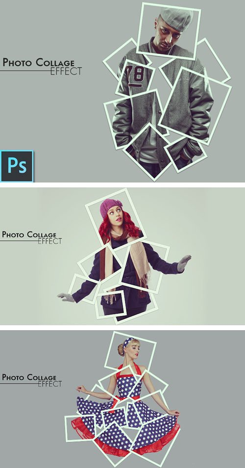 Photo Collage Effect PSD Template + Tutorial