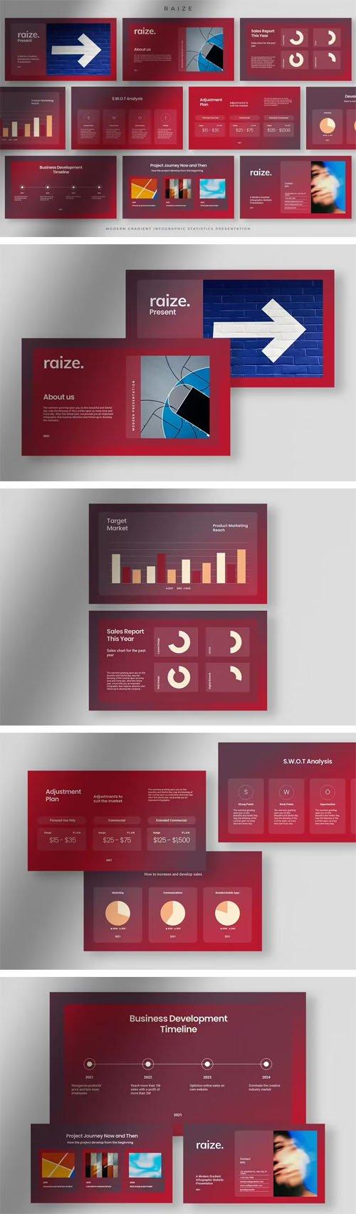 Raize - Infographic Statistics Powerpoint Presentation Template