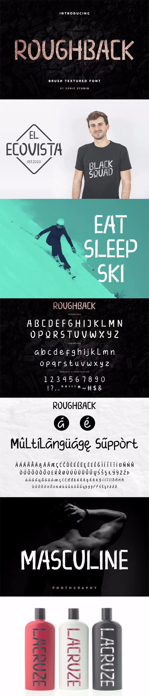 Roughback Script - Rough Brush Textured Typeface