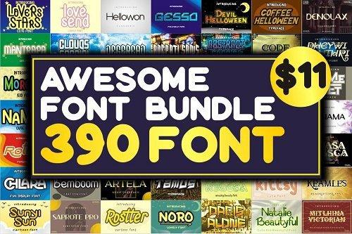 Awesome Font Bundle - 390 Premium Fonts TTF/OTF