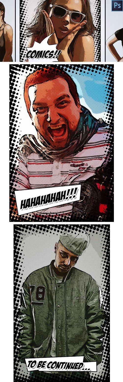Comic Book Cartoon Effect PSD Template + Tutorial