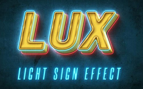 Neon LUX - Light Sign Text Effect for Photoshop