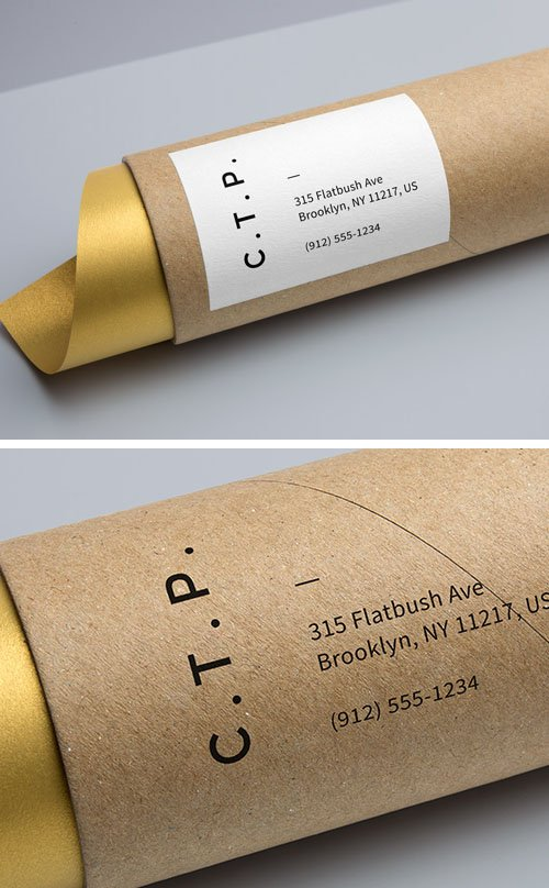 Photorealistic Presentation - Cardboard Tube Packaging PSD Mockup Template